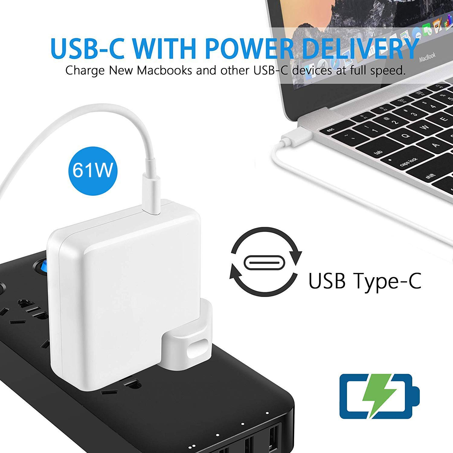 USB-C Power adapter 61w with replaceable plug 1