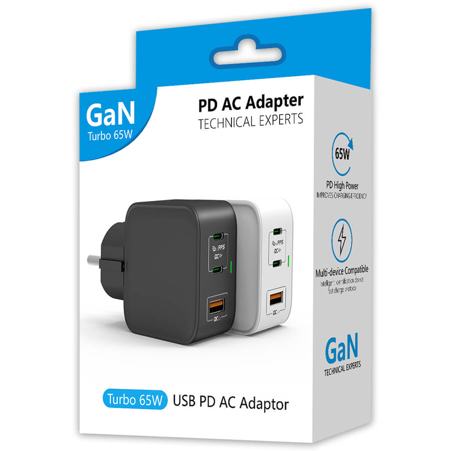 65W multiple GaN wall charger to usb C+C+A, Retail pacakge