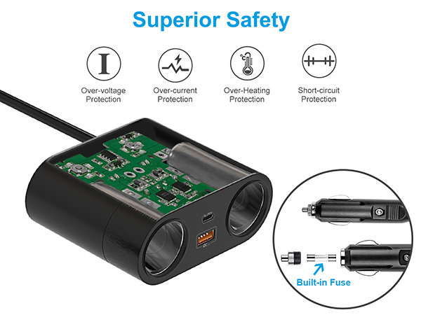 Protections of 120W 2-way cigarette lighter splitter and USB adapter with switch on/off