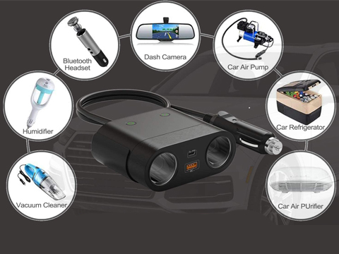 The expansion sockets compatiblity of 120W car cigarette lighter splitter and usb adapter